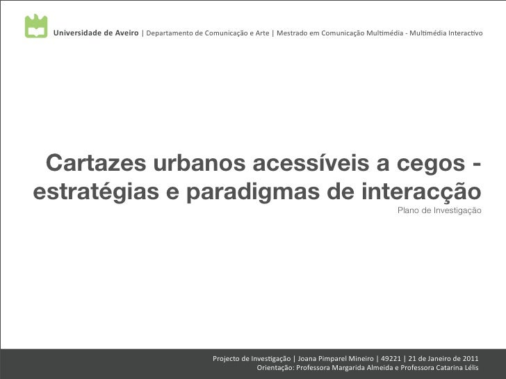 Universidade de Aveiro | Departamento de Comunicação e Arte | Mestrado em Comunicação Mul7média...