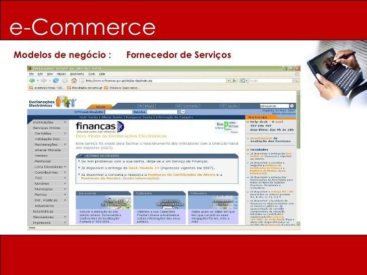 e-Commerce Modelos de negócio :  Fornecedor de Serviços