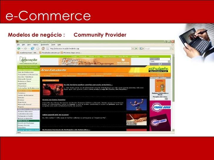 e-Commerce Modelos de negócio :  Community Provider