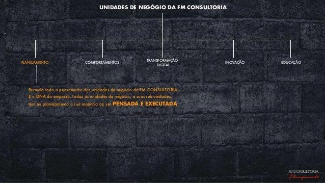 UNIDADES DE NEGÓGIO DA FM CONSULTORIA EDUCAÇÃOPLANEJAMENTO COMPORTAMENTOS TRANSFORMAÇÃO DIGITAL INOVAÇÃO Permeia todo o pe...