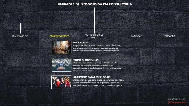 UNIDADES DE NEGÓGIO DA FM CONSULTORIA EDUCAÇÃOPLANEJAMENTO COMPORTAMENTOS TRANSFORMAÇÃO DIGITAL INOVAÇÃO VOZ DAS RUAS Pesq...