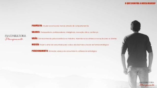FM CONSULTORIA Planejamento PROPÓSITO: Mudar os rumos das marcas através de comportamentos VALORES: Transparência, profiss...