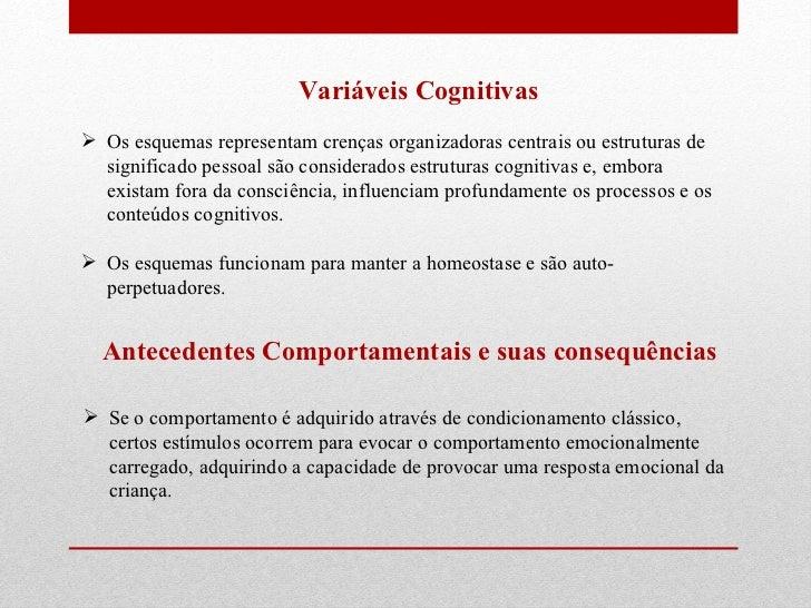 Variáveis Cognitivas  <ul><li>Os esquemas representam crenças organizadoras centrais ou estruturas de significado pessoal ...