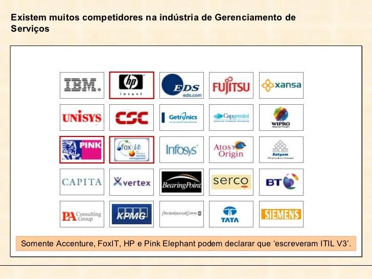 Somente Accenture, FoxIT, HP e Pink Elephant podem declarar que 'escreveram ITIL V3'. Existem muitos competidores na indús...