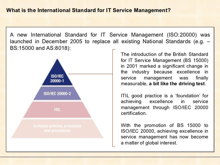 What is the International Standard for IT Service Management? A new International Standard for IT Service Management (ISO:...