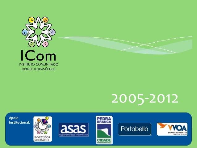 2005-‐2012 Apoio Institucional: