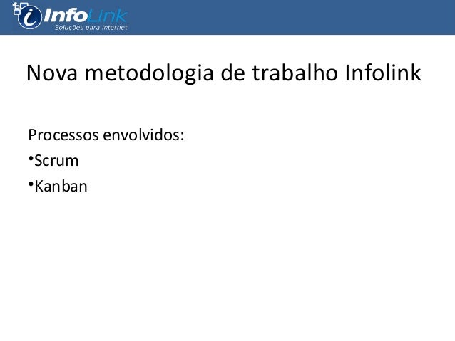 Nova metodologia de trabalho Infolink Processos envolvidos: •Scrum •Kanban