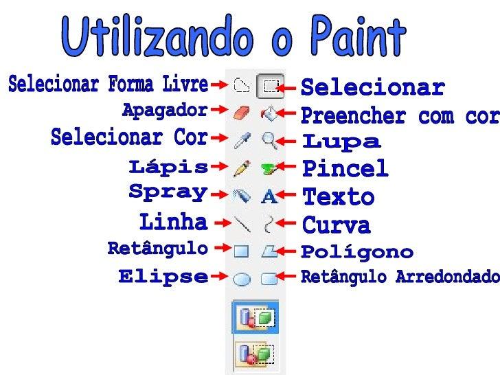 Utilizando o Paint Selecionar Forma Livre Apagador Selecionar Cor Lápis Spray Linha Retângulo Elipse Selecionar Preencher ...