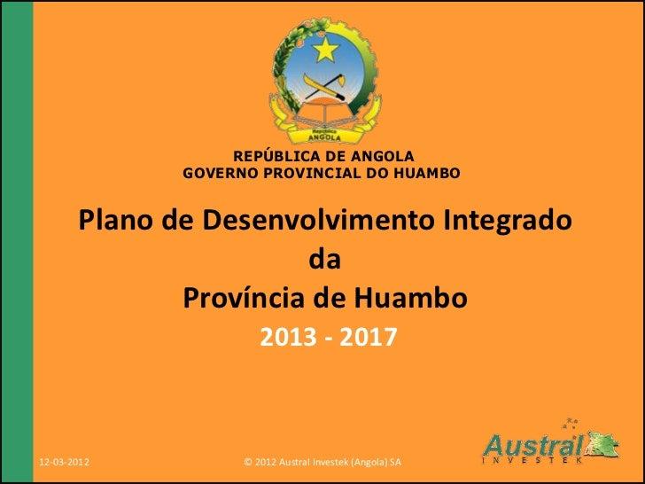República de Angola                                                          Governo da Província de                      ...