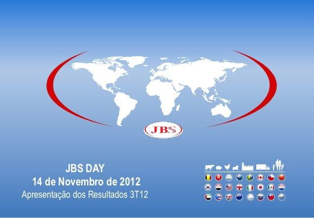 JBS DAY  14 de Novembro de 2012Apresentação dos Resultados 3T12