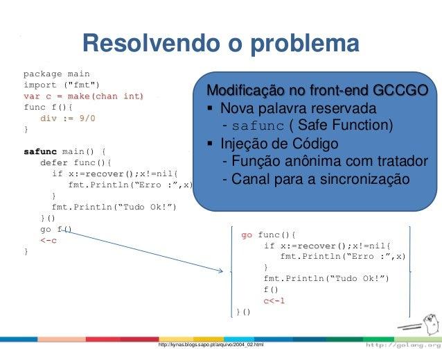 "Resolvendo o problema package main import (""fmt"") var c = make(chan int) func f(){ div := 9/0 } safunc main() { defer func..."