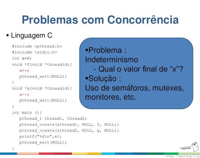Problemas com Concorrência #include <pthread.h> #include <stdio.h> int x=0; void *f(void *threadid){ x++; pthread_exit(NUL...