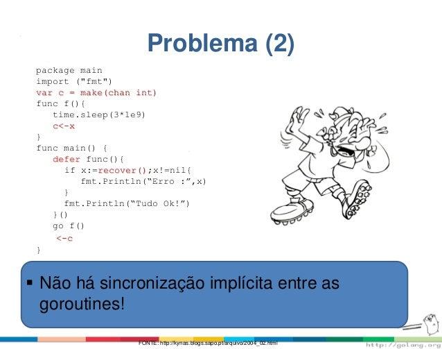 "Problema (2) package main import (""fmt"") var c = make(chan int) func f(){ time.sleep(3*1e9) c<-x } func main() { defer fun..."