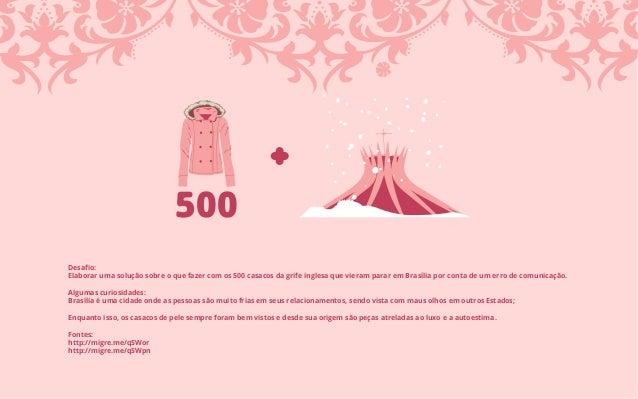 Desafio: Elaborar uma solução sobre o que fazer com os 500 casacos da grife inglesa que vieram parar em Brasília por conta ...