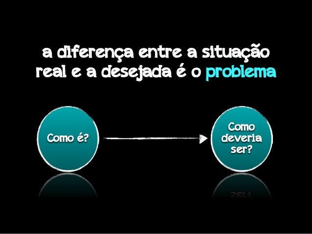 a diferença entre a situação real e a desejada é o problema
