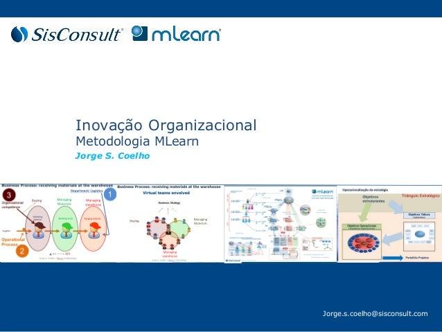 Jorge.s.coelho@sisconsult.com Inovação Organizacional Metodologia MLearn Jorge S. Coelho