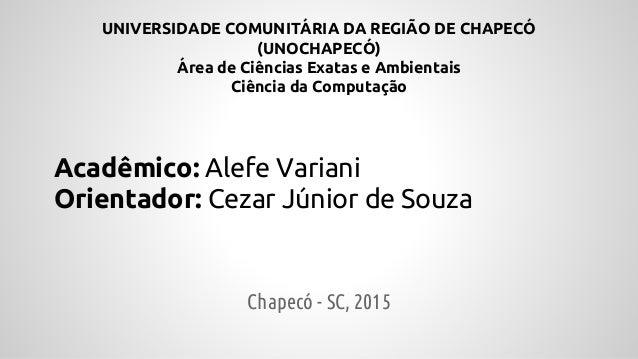 UNIVERSIDADE COMUNITÁRIA DA REGIÃO DE CHAPECÓ (UNOCHAPECÓ) Área de Ciências Exatas e Ambientais Ciência da Computação Acad...