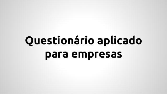 Questionário aplicado para empresas