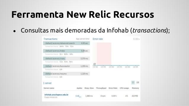 Ferramenta New Relic Recursos ● Tela queries Infohab (Databases);