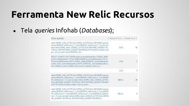 Ferramenta New Relic Recursos ● Bases com conexão (Service Maps);