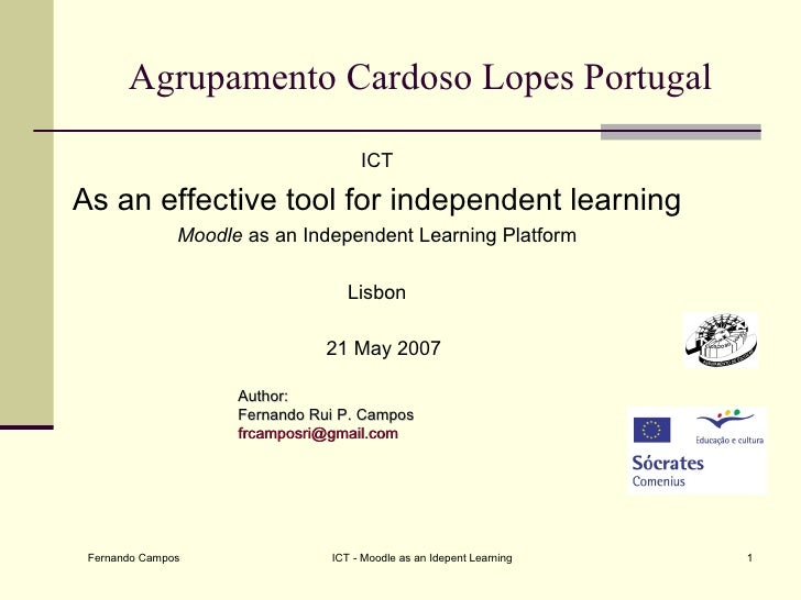 Agrupamento Cardoso Lopes Portugal                                     ICTAs an effective tool for independent learning   ...