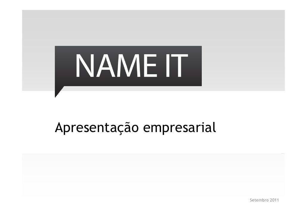 Apresentação empresarial                           Setembro 2011