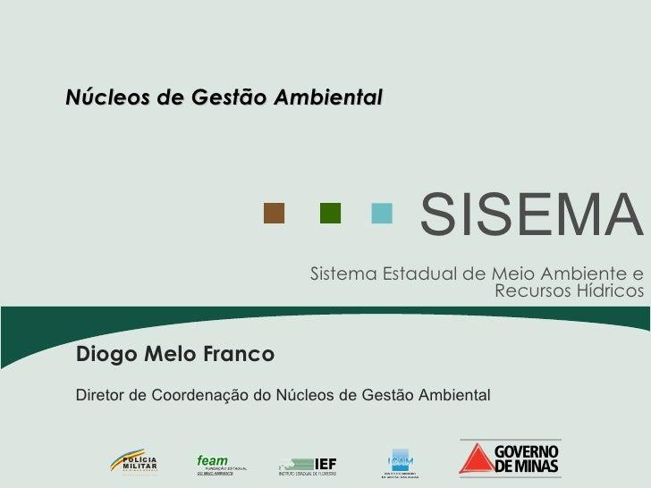 Sistema Estadual de Meio Ambiente e Recursos Hídricos SISEMA Diogo Melo Franco Diretor de Coordenação do Núcleos de Gestão...