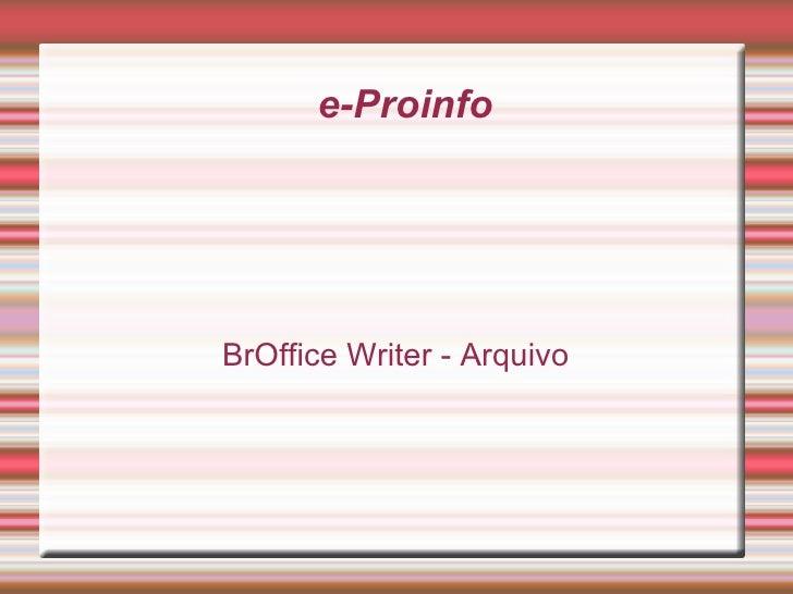 e-Proinfo BrOffice Writer - Arquivo