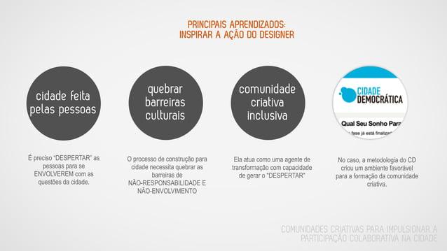 PRINCIPAIS APRENDIZADOS: INSPIRAR A AÇÃO DO DESIGNER quebrar barreiras culturais cidade feita pelas pessoas comunidade cri...