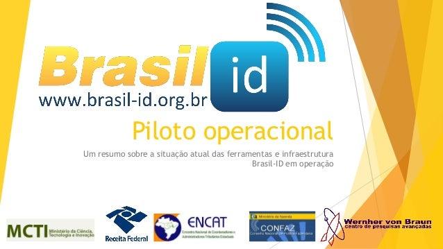 Piloto operacional Um resumo sobre a situação atual das ferramentas e infraestrutura Brasil-ID em operação