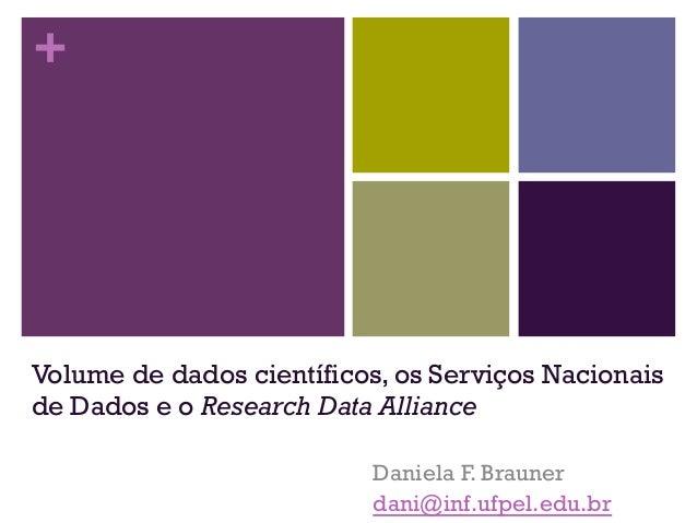 + Volume de dados científicos, os Serviços Nacionais de Dados e o Research Data Alliance Daniela F. Brauner dani@inf.ufpel...