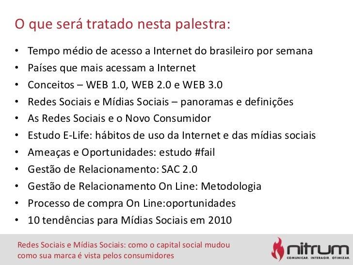 O queserátratadonestapalestra:<br />Tempo médio de acesso a Internet do brasileiroporsemana<br />Paísesquemaisacessam a In...