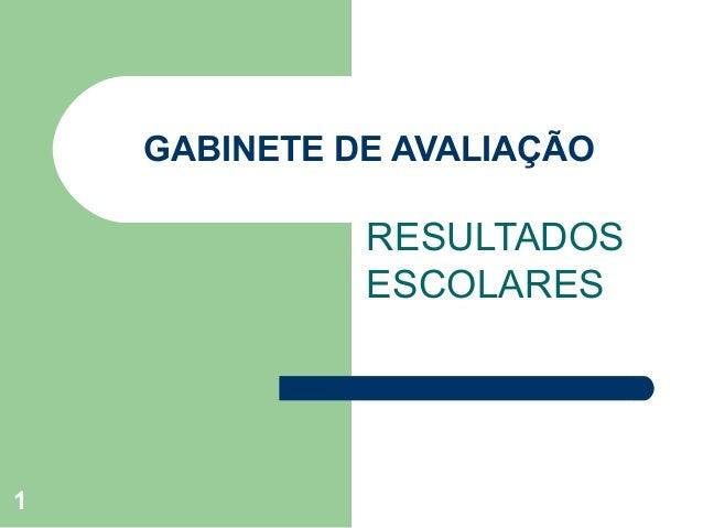 GABINETE DE AVALIAÇÃO  RESULTADOS ESCOLARES  1