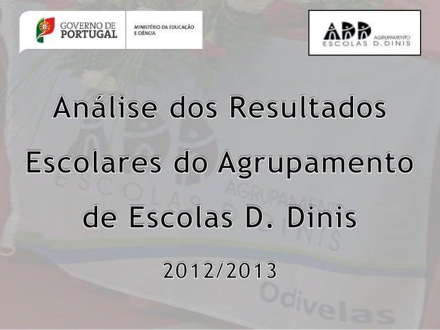 Análise dos Resultados Escolares do Agrupamento de Escolas D. Dinis – 2012/2013