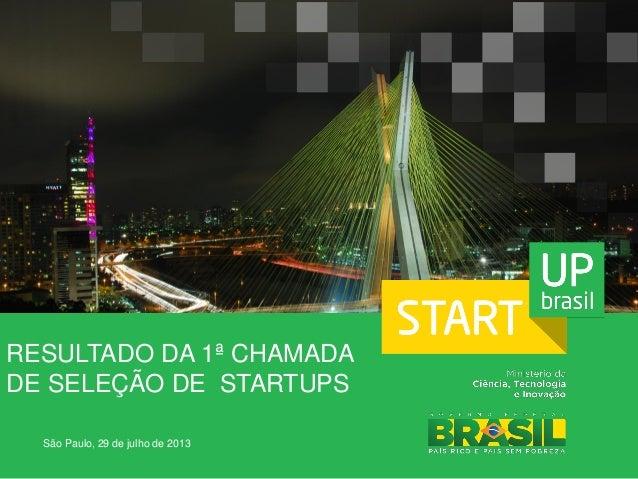 RESULTADO DA 1ª CHAMADA DE SELEÇÃO DE STARTUPS São Paulo, 29 de julho de 2013