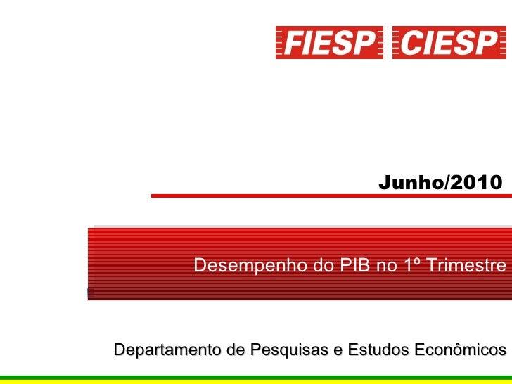 Junho/2010 Desempenho do PIB no 1º Trimestre Departamento  de  Pesquisas  e  Estudos   Econômicos