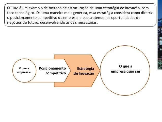 O TRM é um exemplo de método de estruturação de uma estratégia de inovação, comfoco tecnológico. De uma maneira mais genér...