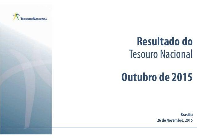 Resultado do Tesouro Nacional Outubro de 2015 Brasília 26 de Novembro,2015