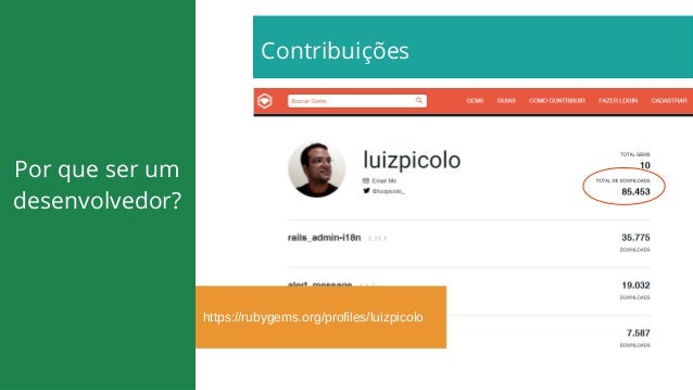 https://rubygems.org/profiles/luizpicolo Contribuições Por que ser um desenvolvedor?