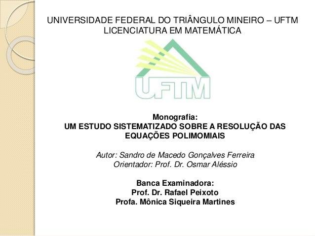 UNIVERSIDADE FEDERAL DO TRIÂNGULO MINEIRO – UFTM LICENCIATURA EM MATEMÁTICA Monografia: UM ESTUDO SISTEMATIZADO SOBRE A RE...