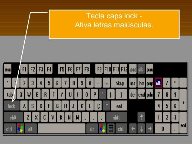 Tecla caps lock -Ativa letras maiúsculas.