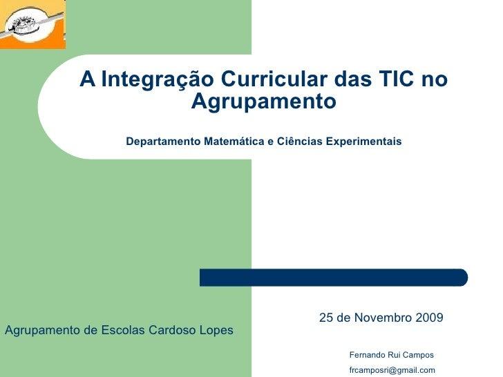 A Integração Curricular das TIC no Agrupamento Departamento Matemática e Ciências Experimentais 25 de Novembro 2009 Fernan...