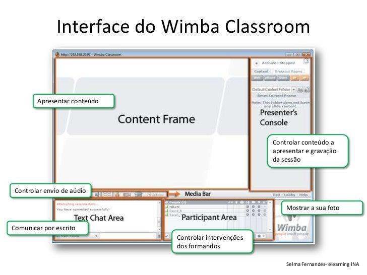 Interface do Wimba Classroom        Apresentar conteúdo                                                       Controlar co...