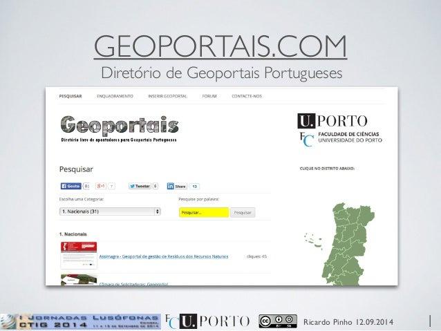 GEOPORTAIS.COM  Diretório de Geoportais Portugueses  Ricardo Pinho 12.09.2014  1