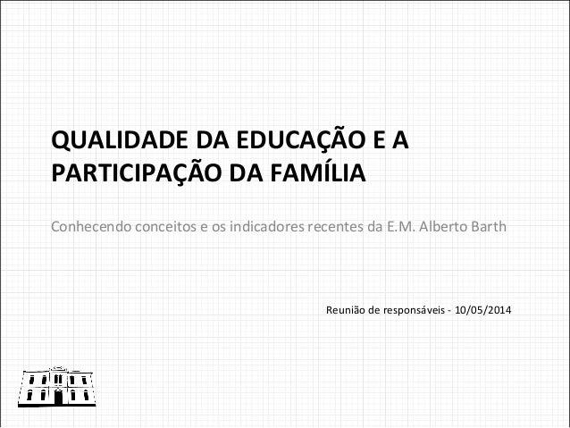 QUALIDADE  DA  EDUCAÇÃO  E  A   PARTICIPAÇÃO  DA  FAMÍLIA   Conhecendo  conceitos  e  os  indicado...