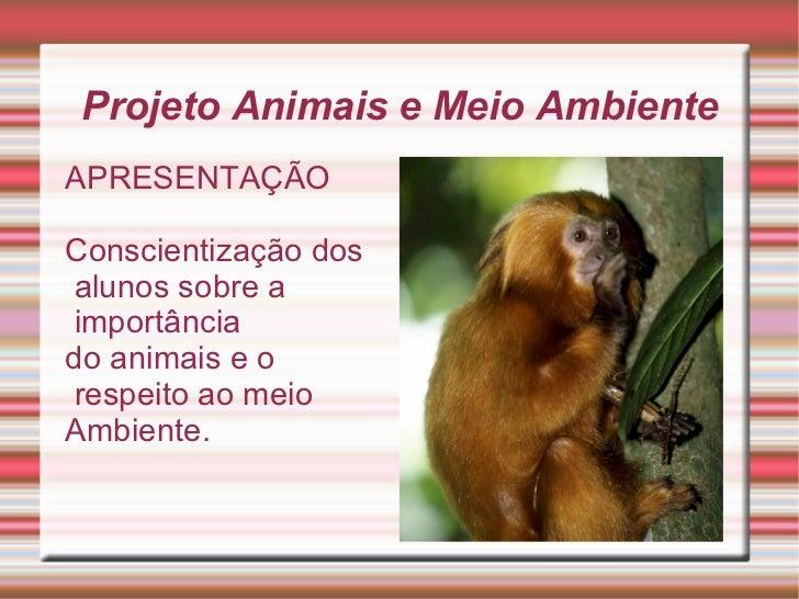 Projeto Animais e Meio Ambiente APRESENTAÇÃO Conscientização dos alunos sobre a importância  do animais e o respeito ao me...