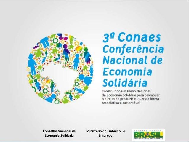 Secretaria Nacional de Economia Solidária Conselho Nacional de Economia Solidária Ministério do Trabalho e Emprego