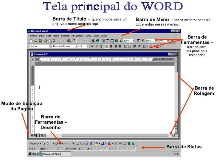 Tela principal do WORD Barra de Título  –  quando você salva um arquivo o nome aparece aqui. Barra de Menu  –  todos os co...