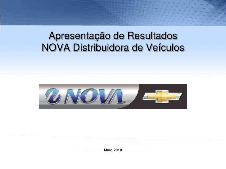 Apresentação de Resultados NOVA Distribuidora de Veículos<br />Maio 2010<br />