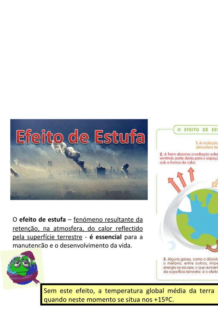 <ul><li>O  efeito de estufa  –  fenómeno resultante da retenção, na atmosfera, do calor reflectido pela superfície terrest...